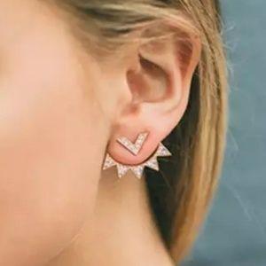 Silver V Spike Jacket Earrings